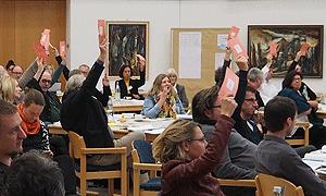 Die Mitglieder stimmen während der AdB-Mitgliederversammlung über die Stellungnahme zum Jahresthema ab.