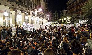 Protestdemonstration auf der Plaza de Fuente Dorada, Valladolid, Spanien